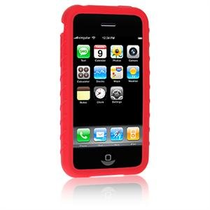 RED Full View Ribbed Silicone Skin Cover Case for Apple iPhone 3G