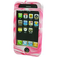 Silicone Rubber Jelly Case for Apple iPhone 3G - Pink Swirls