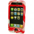 Silicone Rubber Jelly Case for Apple iPhone 3G - Red Swirls