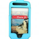 Full View Leather Belt Clip Pouch Case for Apple iPhone 3G Cell Phone - BLUE