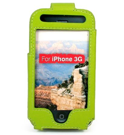 Full View Leather Belt Clip Pouch Case for Apple iPhone 3G Cell Phone - GREEN