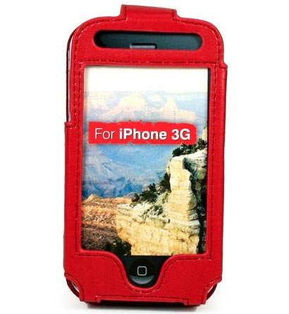 Full View Leather Belt Clip Pouch Case for Apple iPhone 3G Cell Phone - RED