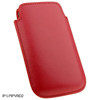 Soft Slip-On Leather Pouch Cover Case for Apple iPhone 3G Cell Phone - RED