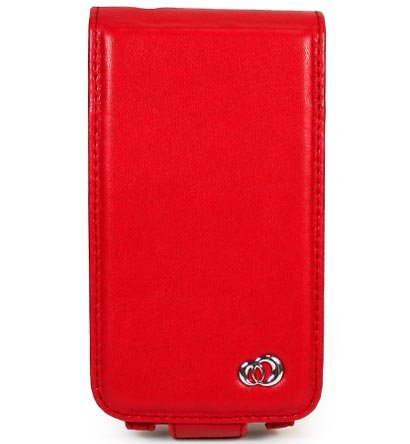 VERTICAL Leather Carrying Case Cover for Apple iPhone 3G - RED
