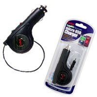 Rubberized Retractable Plug in Car Charger for LG VX9700 Dare