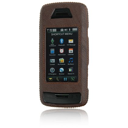 Hard Plastic Leatherette Shield Protector Case for LG Voyager VX10000 - Brown