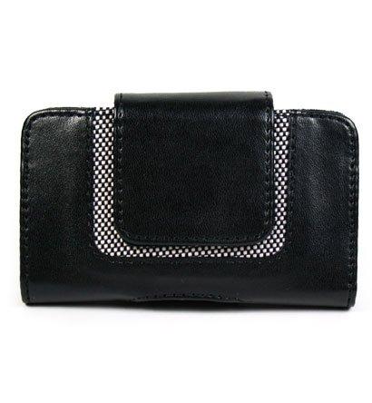 BLACK Horizontal Magnetic Wallet Style Belt Clip Case for Blackberry Curve