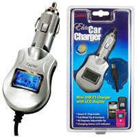 Elite Car Charger with Smart Display & IC Chip Protection for BlackBerry 8300 Curve - Silver