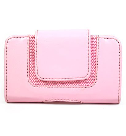 PINK Horizontal Magnetic Wallet Style Belt Clip Case for Blackberry Curve