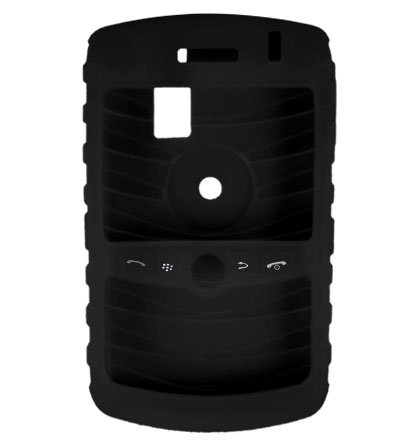Premium Ribbed Silicone Skin Cover for BlackBerry Curve 8300 - Black