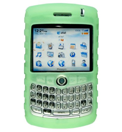 Premium Ribbed Silicone Skin Cover for BlackBerry Curve 8300 - Green