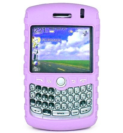 Premium Ribbed Silicone Skin Cover for BlackBerry Curve 8300 - Purple