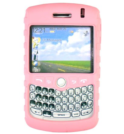Premium Ribbed Silicone Skin Cover for BlackBerry Curve 8300 - Solid Pink