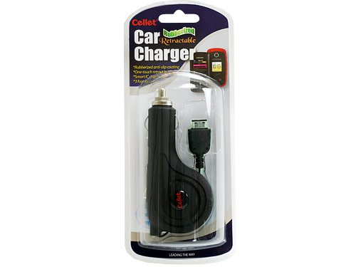 Rubberized Retractable Plug in Car Charger for Samsung BlackJack II