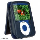 BLUE Leather Pouch Case for Apple iPod Nano 3