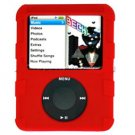 RED Silicone Skin Cover w/ Anti-Slip Grip for Apple iPod Nano 3rd Gen