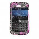 Hard Plastic Shield Protector Faceplate Case for BlackBerry Bold 9000 - Pink Butterfly