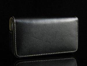 Premium Horizontal Leather Cover Case for Apple iPhone - Black
