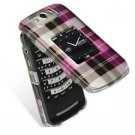 Hard Plastic Design Cover Case for BlackBerry Pearl Flip 8220 - Hot Pink Check