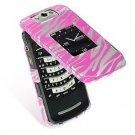 Hard Plastic Design Cover Case for BlackBerry Pearl Flip 8220 - Hot Pink Zebra