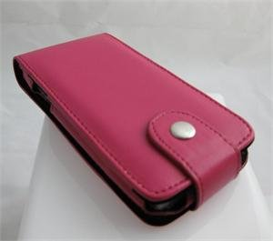 Vertical Leathrette Cover Case Pouch for Samsung Instinct M800 - Hot Pink