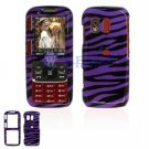 Hard Plastic Design Cover Case for Samsung Rant M540 - Purple / Black Zebra Stripes