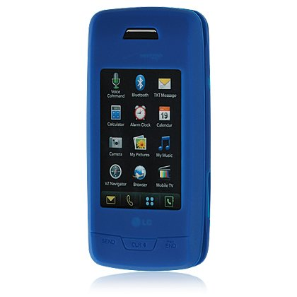 Soft Rubber Silicone Skin Cover Case for LG Voyager VX10000 - Blue