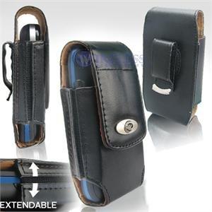 Black Leather Vertical Extendable Belt Clip Pouch Case for Samsung Instinct M800 (#4)