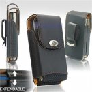 Black Leather Vertical Extendable Belt Clip Pouch Case for Samsung Omnia (#1)