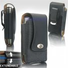 Black Leather Vertical Extendable Belt Clip Pouch Case for Samsung Omnia (#3)