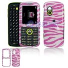 Hard Plastic Design Cover Case for Samsung Gravity T459 - Pink / White Zebra