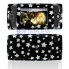 Hard Plastic Design Shield Protector Cover Case for Sidekick 2008 - Black / Silver Stars