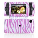 Hard Plastic Design Shield Protector Cover Case for Sidekick 2008 - Pink / White Zebra