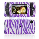 Hard Plastic Design Shield Protector Cover Case for Sidekick 2008 - Purple / White Zebra