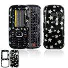 Hard Plastic Design Cover Case for LG Rumor 2 LX265 - Black / Silver Stars