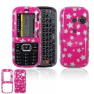 Hard Plastic Design Cover Case for LG Rumor 2 LX265 - Pink / Silver Stars