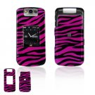Hard Plastic Design Cover Case for BlackBerry Pearl Flip 8220 - Hot Pink / Black Zebra