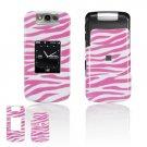 Hard Plastic Design Cover Case for BlackBerry Pearl Flip 8220 - Pink / White Zebra