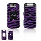 Hard Plastic Design Cover Case for BlackBerry Pearl Flip 8220 - Purple / Black Zebra