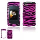 Hard Plastic Design Cover Case for Motorola Stature i9 - Hot Pink / Black Zebra