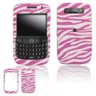 Hard Plastic Rubber Feel Design Cover Case for BlackBerry Javelin 8900 - Pink / White Zebra