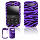 Hard Plastic Rubber Feel Design Cover Case for BlackBerry Javelin 8900 - Purple / Black Zebra