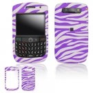 Hard Plastic Rubber Feel Design Cover Case for BlackBerry Javelin 8900 - Purple / White Zebra