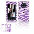 Hard Plastic Design Cover Case for Samsung Memoir T929 - Purple / White Zebra