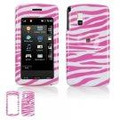 Hard Plastic Shield Protector Case for LG VU CU915 / CU920 - Pink / White Zebra