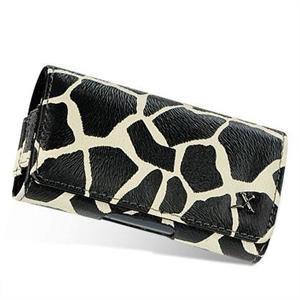 Horizontal Leather Safari Pouch Case Cover for Palm Centro 690 - Black / White Giraffe #1
