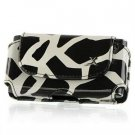 Horizontal Leather Safari Pouch Case Cover for Palm Centro 690 - Black / White Giraffe #2