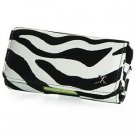 Horizontal Leather Safari Pouch Case Cover for Palm Centro 690 - Black / White Zebra #2