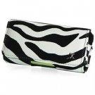 Horizontal Leather Safari Pouch Case Cover for Palm Centro 690 - Black / White Zebra #2