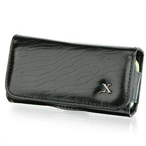 Horizontal Leather Safari Pouch Case Cover for Palm Centro 690 - Black Zebra #1